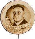 """Political:Pinback Buttons (1896-present), Franklin D. Roosevelt: """"Victory 1936"""" Real Photo Picture Pin...."""