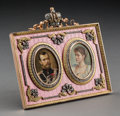 Decorative Arts, Continental:Other , A 14K Vari-Color Gold, Silver, Diamond, and Guilloche EnamelPortrait Frame in the Manner of Fabergé, late 20th century. 5-1...