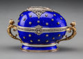 Decorative Arts, Continental:Other , A 14K Vari-Color Gold, Silver, Diamond, and Guilloche Enamel Eggwith Rock Crystal and Cabochon-Mounted Swan Surprise in the M...