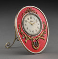 Clocks & Mechanical:Clocks, A 14K Vari-Color Gold, Diamond, Pearl, and Guilloche Enamel Clock in the Manner of Fabergé, late 20th century . 5 x 3-3/4 x ... (Total: 9 Items)