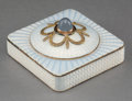 Decorative Arts, Continental:Other , A 14K Gold, Silver, Moon Stone, and Guilloche Enamel Push ...