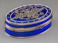 Decorative Arts, Continental:Other , A 14K Vari-Color Gold, Silver, Diamond, Guilloche Enamel, and RubyCabochon-Mounted Snuff Box in the Manner of Fabergé, late...
