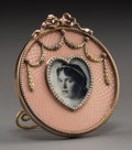 Other, A 14K Vari-Color Gold, Pearl, and Guilloche Enamel Portrait Frame in the Manner of Fabergé, late 20th century . 2-3/4 x 2-3/...