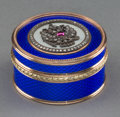 Decorative Arts, Continental:Other , A 14K Vari-Color Gold, Silver, Diamond, Guilloche Enamel, and RubyCabochon-Mounted Pill Box in the Manner of Fabergé, late ...