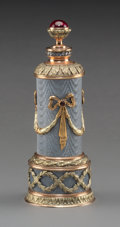 Decorative Arts, Continental:Other , A 14K Vari-Color Gold, Silver, Diamond, Guilloche Enamel, and RubyCabochon-Mounted Perfume in the Manner of Fabergé, late 2...