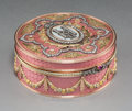 Decorative Arts, Continental:Other , A 14K Vari-Color Gold, Silver, Diamond, Guilloche Enamel, and RubyCabochon-Mounted Snuff Box in the Manner of Fabergé, lat...