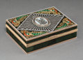 Decorative Arts, Continental:Other , A 14K Vari-Color Gold, Silver, Diamond, Guilloche Enamel, andSpinach Jade Snuff Box in the Manner of Fabergé, late 20th cen...