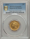 Three Dollar Gold Pieces, 1854 $3 -- Repaired -- PCGS Genuine Secure. AU Details. NGC Census: (214/3500 and 0/15+). PCGS Population: (391/2637 and 1/...