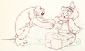 Animation Art:Production Drawing, Beach Picnic Pluto and Donald Duck Animation Drawing (WaltDisney, 1939). ...