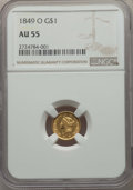 Gold Dollars, 1849-O G$1 Open Wreath AU55 NGC. NGC Census: (105/534). PCGS Population: (76/252). CDN: $470 Whsle. Bid for problem-free NG...