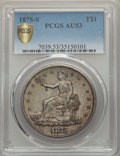 Trade Dollars: , 1875-S T$1 AU53 PCGS Secure. PCGS Population: (43/1208 and 0/30+).NGC Census: (13/909 and 0/7+). CDN: $350 Whsle. Bid for ...
