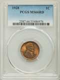 Lincoln Cents: , 1928 1C MS66 Red PCGS. PCGS Population: (413/67). NGC Census: (98/12). CDN: $200 Whsle. Bid for problem-free NGC/PCGS MS66....