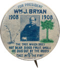 """Political:Pinback Buttons (1896-present), William Jennings Bryan: Classic """"Contrasting Trees"""" Picture Pin...."""