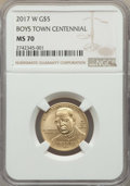2017-W $5 Boys Town Centennial Five Dollar MS70 NGC. NGC Census: (0). PCGS Population: (259)