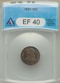 Bust Dimes: , 1821 10C Large Date XF40 ANACS. NGC Census: (9/138). PCGSPopulation: (32/182). CDN: $480 Whsle. Bid for problem-freeNGC/P...
