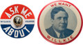 Political:Pinback Buttons (1896-present), Wendell Willkie: Picture Pins Large and Small.... (Total: 2 Items)
