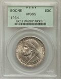 Commemorative Silver, 1934 50C Boone MS65 PCGS. PCGS Population: (645/350). NGC Census: (463/199). CDN: $140 Whsle. Bid for problem-free NGC/PCGS...