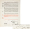 Baseball Collectibles:Others, 1941 Joe DiMaggio Signed New York Yankees Uniform Player's Contract.. ... (Total: 2 items)