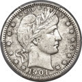 Barber Quarters, 1901-S 25C -- Damage -- PCGS Genuine. XF Details....