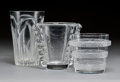 Art Glass:Daum, Two Daum Glass Vases with Lalique Glass RicquewihrLave-Raisin. 20th century. Various engravings. Ht. 7-3/4 in. ...(Total: 3 Items)