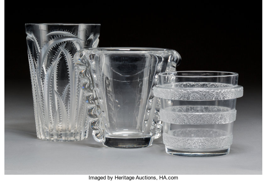 Two Daum Glass Vases With R Lalique Glass Ricquewihr Lotid 11064