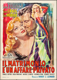 "Marriage is a Private Affair (MGM, Late 1940s). First Post-War Release Italian 2 - Fogli (39"" X 54.75"") Zadro..."