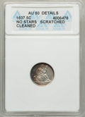 Seated Half Dimes, 1837 H10C No Stars, Large Date (Curl Top 1) -- Cleaned, Scratched -- ANACS. AU50 Details. NGC Census: (30/921). PCGS Popula...