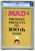 "Magazines:Humor, Mad #100 Gaines File pedigree (EC, 1966) CGC NM 9.4 Off-white towhite pages. ""Hush, Hush, Sweet Charlotte"" movie parody. An..."