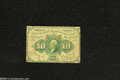 Fractional Currency:First Issue, Fr. 1241 10c First Issue Very Good-Fine. Although heavily circulated this No Monogram perforated note is remarkably problem ...