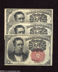 Fractional Currency:Fifth Issue, Two Fr. 1265 and a Fr. 1266 10c Fifth Issue Extremely Fine-AboutUncirculated. Three lightly circulated examples of this fif... (3notes)