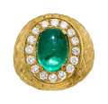 Estate Jewelry:Rings, Emerald, Diamond, Gold Ring  The ring centers ...