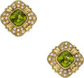 Estate Jewelry:Earrings, Peridot, Diamond, Gold Earrings The earrings f...