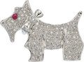 Estate Jewelry:Brooches - Pins, Diamond, Ruby, White Gold Brooch The dog brooc...
