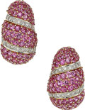 Estate Jewelry:Earrings, Pink Sapphire, Diamond, Gold Earrings . ...