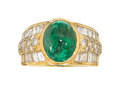 Estate Jewelry:Rings, Emerald, Diamond, Gold Ring The ring centers a...