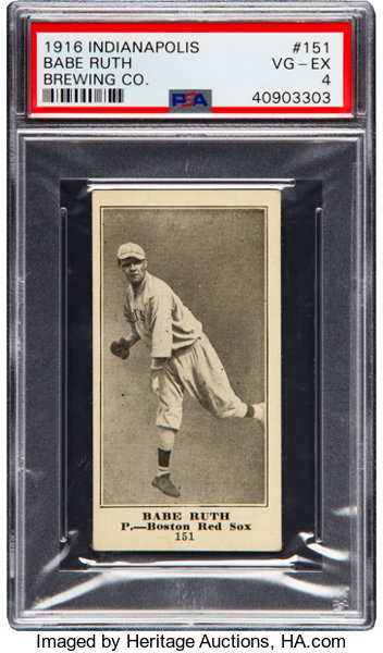 1916 Indianapolis Brewing Co Babe Ruth 151 Rookie Psa Vg Ex 4