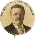Political:Pinback Buttons (1896-present), Theodore Roosevelt: Tough Picture Pin....