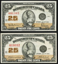 Canadian Currency, DC-24b 25 Cents 1923;. DC-24d 25 Cents 1923.. ... (Total: 2 notes)