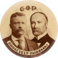 """Political:Pinback Buttons (1896-present), Roosevelt & Fairbanks: Real Photo """"G.O.P."""" Jugate...."""