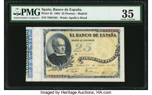 World Currency Spain Banco De Espana 25 Pesetas 24 7 1893 Pick 42