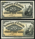 Canadian Currency, DC-15b 25 Cents 1900, Two Examples. ... (Total: 2 notes)
