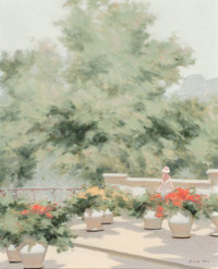 André Gisson (French/American, 1921-2003) Among the Flowers on the Terrace Oil on canvas 20 x 16
