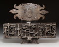 Decorative Arts, Continental, Two Large German Medieval Iron Lockplates, circa 15th-16th century.8-1/2 x 21 x 2 inches (21.6 x 53.3 x 5.1 cm) (larger). ... (Total:2 Items)