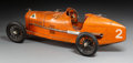 Decorative Arts, French, A French CIJ Alfa Romeo Orange Clockwork Model P2 Grand Prix Car,circa 1935. 6-1/4 x 21 x 7-1/2 inches (15.9 x 53.3 x 19.1 ...