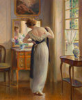 Paintings, Edouard Gelhay (French, 1856-1956). The New Dress. Oil on canvas. 25 x 21-1/2 inches (63.5 x 54.6 cm). Signed lower left...
