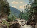 Fine Art - Painting, American, Wilhelm Bartsch (German, 1871-1953). A Mountainous Ravine.Oil on canvas. 30 x 40-1/2 inches (76.2 x 102.9 cm). Signed l...