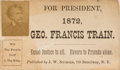 Political:Small Paper (pre-1896), George Francis Train: Signed Campaign Card....
