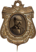 """Political:Ferrotypes / Photo Badges (pre-1896), James A. Garfield: """"Recycled"""" Ferrotype Stickpin...."""