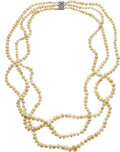 Estate Jewelry:Necklaces, Natural Pearl, White Gold Necklace  The neckla...