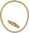 Estate Jewelry:Suites, Gold Jewelry Suite The 18k gold necklace and m...